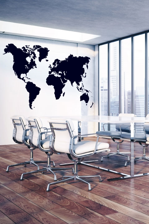 World Map Wall Decals & World Map Wall Decals | WALLTAT.com
