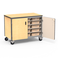 Mobile Storage Cabinet with 15 Tote Trays