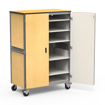 Mobile Locking Storage Cabinet With Five Shelves