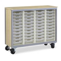 Mobile Tote Storage Cabinets - with NO doors + 40 Tote Trays