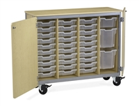 Mobile Tote Storage Cabinets - with doors + 40 Tote Trays