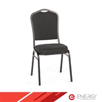 ENERGi Padded Stacking Chairs - Crown Back - Black Fabric