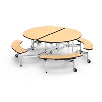 Virco Mobile Cafeteria Tables - Bench Seat - Folding - Oval