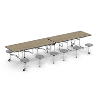 "Virco Mobile Cafeteria Tables - Stool Seat - Folding - 30""x144"""