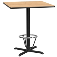 "36"" Square Table w/ X-Base & Footring - TALL"