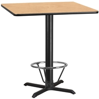 "42"" Square Table w/ X-Base & Footring - TALL"