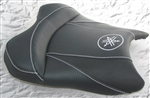 """New Image"" Custom R6 R1 Front Seat Black Carbon Fiber w/White Embroidering"