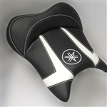 """New Image"" Custom R6 R1 Front Seat Black/White Carbon Fiber w/White Embroidering"