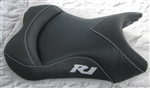 """New Image"" Custom R1 Front Seat Black Carbon Fiber w/Silver Embroidering"