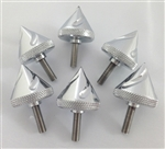 6 Piece Chrome Grooved 5mm Spike Collar/Fairing Bolts w/Shoulders