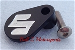 "Black Front Sprocket Speed Sensor Switch Cover w/Silver Engraved ""S"""