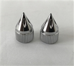 Chrome Grooved Spiked Tire Valve Stem Caps