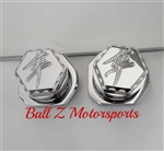 Chrome 3D Hex Rear Axle Caps with Adjuster Blocks & Kanji Logos!
