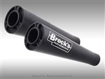 "Brock's Performance Short Meg Dual Black Undertail 14"" Muffler Yamaha R1 (04-06) Exhaust System"