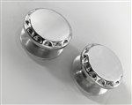 2- Chrome Exhaust Hanger Peg Plugs w/Ball Cut Edges