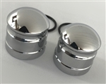 2008-2018 Hayabusa Chrome Smooth Fork Adjuster Dampener Caps for Stock OEM Triple Tree