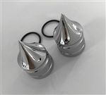 2008-2018 Hayabusa Chrome Grooved Spike Fork Adjuster Dampener Caps for Stock OEM Triple Tree