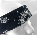 """Crystal Bandanas"" Navy Blue/White Paisley Cotton Bandana with Swarovski Crystals"