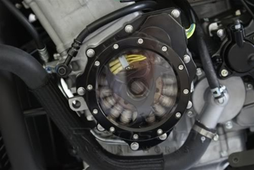 Custom Billet Black Silver Contrast See Through Stator Cover