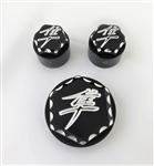 Hayabusa Black/Silver Engraved & Ball Cut 3D Hex Adjuster & Yoke Caps For Stock/OEM Triple Tree