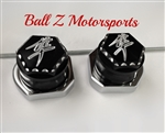 2008+ Hayabusa Black/Silver Engraved & Ball Cut 3D Hex Rear Axle Caps with Chrome Adjuster Blocks