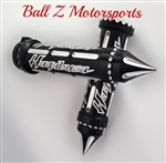 Hayabusa Black Anodized Silver Engraved & Ball Cut Grips with Grooved Spike Bar Ends
