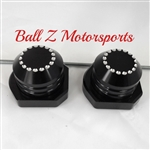 Black/Silver Ball Cut Rear Axle Caps with Adjuster Blocks