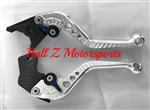 SV650 Short Silver Adjustable PAZZO Brake & Clutch Lever Set w/Blue Adjusters