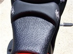 """New Image"" Hayabusa Custom Shaped Black Ostrich Front Seat w/Chrome Embroidering"