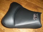Custom GSXR 600/750/1000 Front Seat Black Carbon Fiber & Black/Silver Embroidering
