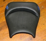 """New Image"" Custom Shaped Black Carbon Fiber Hayabusa Front Seat w/Blue Embroidering"