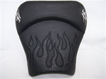 """New Image"" Custom Hayabusa Front Seat w/Black Ostrich Flame Applique"