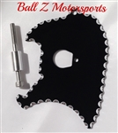 99-07 Hayabusa Black Front Sprocket Cover Plate w/Silver Ball Cut Edges