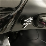 2PC Hayabusa Custom 3D Black/Silver Engraved & Ball Cut Windscreen Bolts w/Stainless Steel Threads