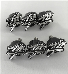 6PC Hayabusa Custom 3D Black/Silver Engraved & Ball Cut Small Collar Fairing Bolts w/Stainless Steel Threads