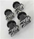 4-PC 08-17 Hayabusa Custom 3D Black/Silver Engraved & Ball Cut Front Fender Bolts w/Stainless Steel Threads
