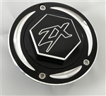 Kawasaki ZX 3 Hole Custom 3D Hex Black/Silver Engraved Fuel/Gas Cap w/Ring Cut Edges
