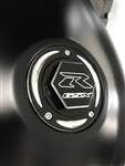 Suzuki 3 Hole Custom 3D Hex Black/Silver Engraved Fuel/Gas Cap w/Ring Cut Edges