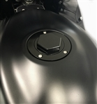 Suzuki 3 Hole Custom Smooth 3D Hex Black Anodized Fuel/Gas Cap