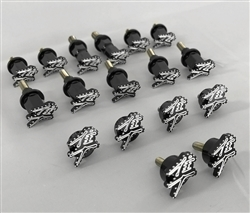 17PC 2008-2018 Hayabusa Custom Black/Silver 3D Engraved & Ball Cut Complete Fairing Bolt Kit w/Stainless Steel Threads