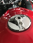 Hayabusa GSXR 600/750/1000 Custom Chrome 3D Hole Shot Fuel Lid/Gas Cap w/Smooth Edges (4 Hole Base)