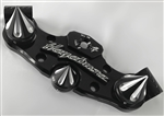 08+ Hayabusa 3D Black/Silver Engraved Smooth Lowering Triple Tree w/Built In Ignition Cover/ Grooved Spike Fork & Yoke Cap Package