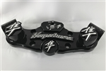 1999-2007 Hayabusa Black/Silver 3D Engraved Lowering Triple Tree w/Built In Ignition Cap & Huge 3D Kanji Pocket Engraved Fork & Yoke Caps