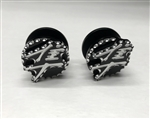 2-Hayabusa Black And Silver 3D Engraved Exhaust Hanger Peg Plug With Ball Cut Edges