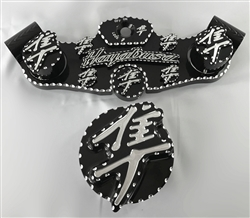 2008-2018 Hayabusa Black/Silver 3D Ball Cut Lowering Triple Tree w/Built In Ignition Cap & Huge 3D Kanji Pocket Engraved Gas/Fork/Yoke/Bolt Caps