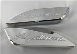 Hayabusa Chrome Engraved Side Tank Pads w/Smooth Edges