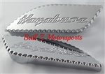 Hayabusa Chrome Engraved Side Tank Pads w/Ball Cut Edges