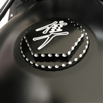2008-2018 Hayabusa Custom 3D Hex Engraved Black/Silver Ball Cut Fuel/Gas Cap