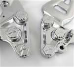 Hayabusa Chrome 3D Hex Engraved Front Peg Bracket Mounting Bolts & Covers w/Ball Cut Edges
