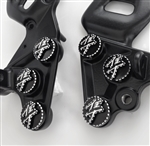 Hayabusa Black/Silver 3D Pocketed Engraved & Ball Cut Front Peg Bracket Mounting Bolts & Covers